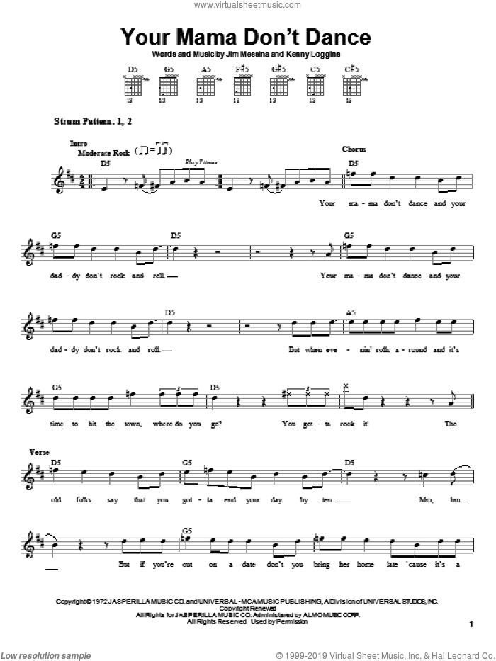 Your Mama Don't Dance sheet music for guitar solo (chords) by Kenny Loggins, Loggins And Messina, Poison and Jim Messina. Score Image Preview.