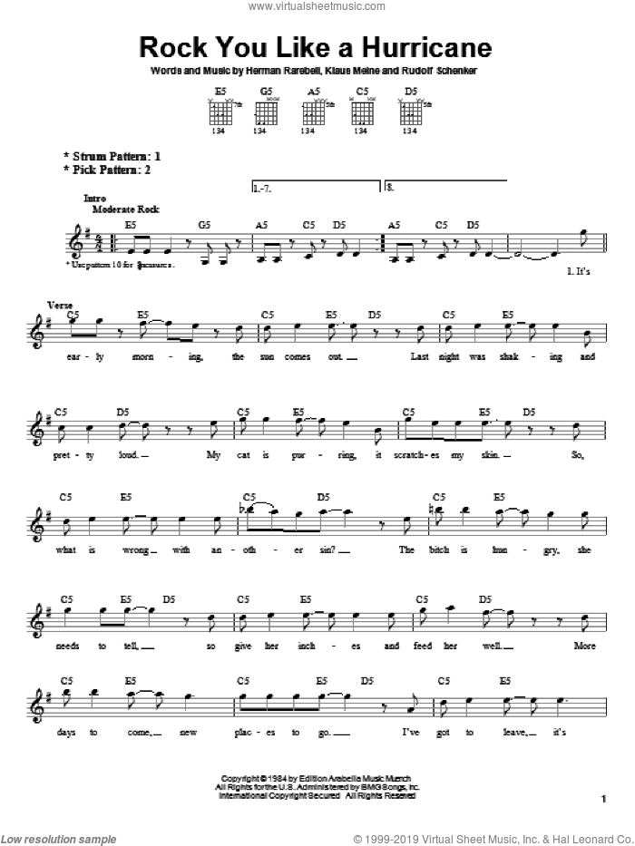 Rock You Like A Hurricane sheet music for guitar solo (chords) by Rudolf Schenker, Scorpions and Klaus Meine. Score Image Preview.