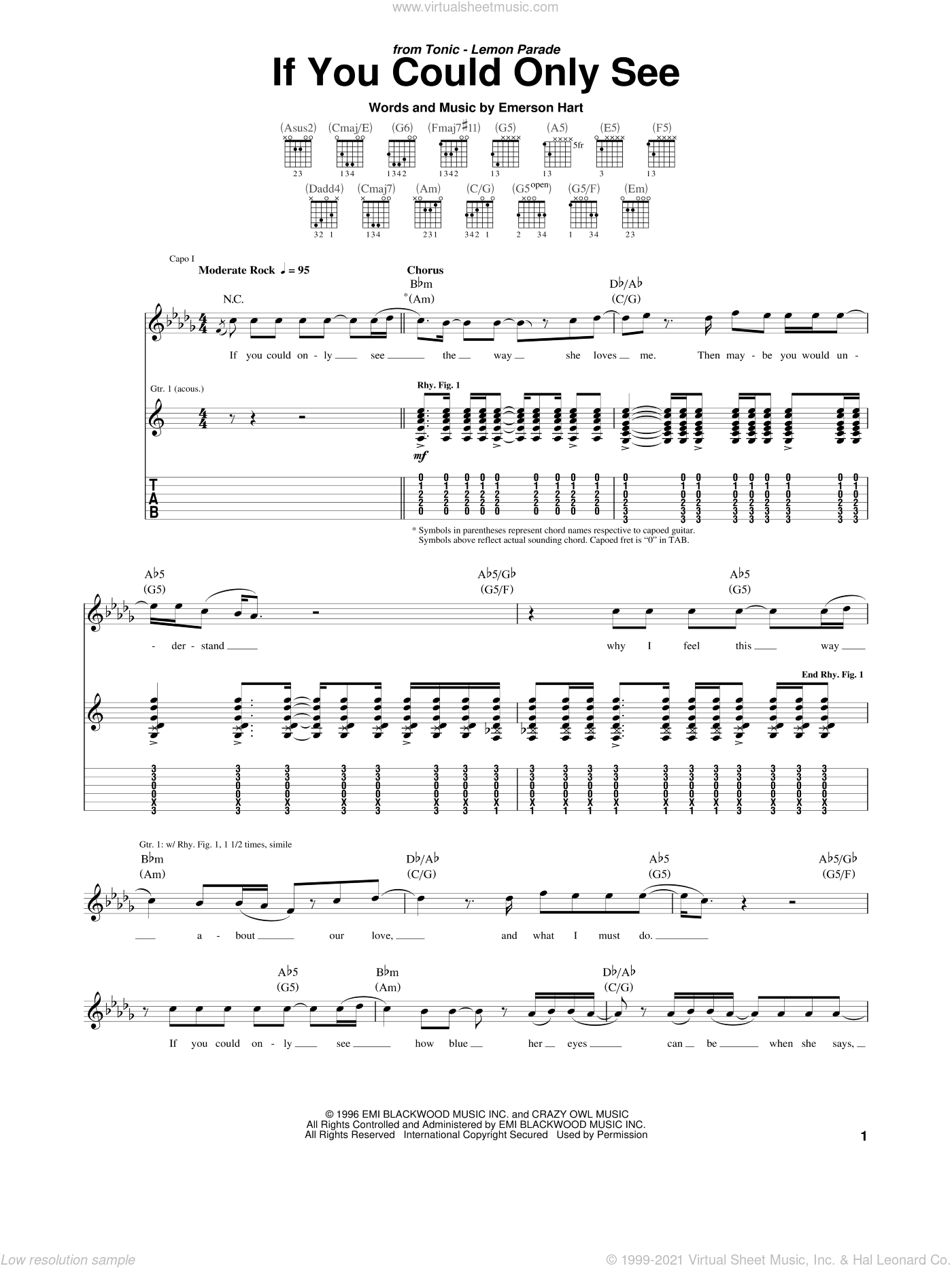 If You Could Only See sheet music for guitar (tablature) by Tonic and Emerson Hart, intermediate skill level