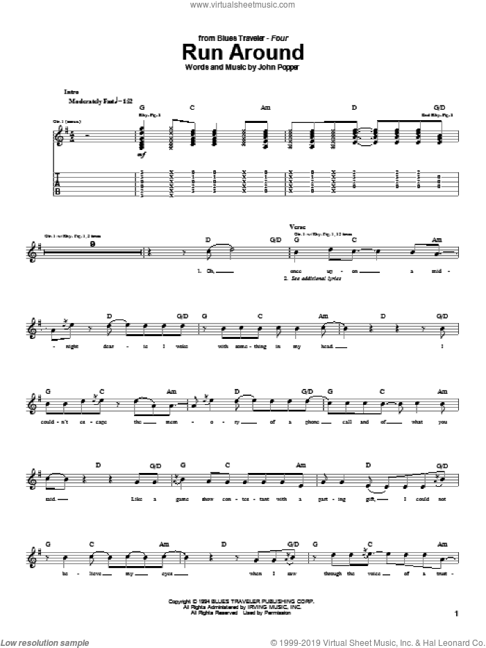 Run Around sheet music for guitar (tablature) by John Popper