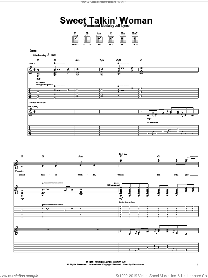 Sweet Talkin' Woman sheet music for guitar (tablature) by Jeff Lynne. Score Image Preview.