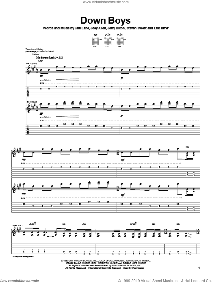 Down Boys sheet music for guitar (tablature) by Warrant and Jerry Dixon. Score Image Preview.