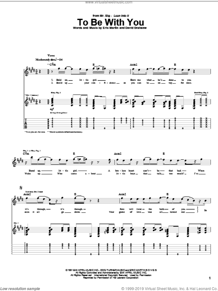 To Be With You sheet music for guitar (tablature) by Mr. Big, David Grahame and Eric Martin, intermediate skill level