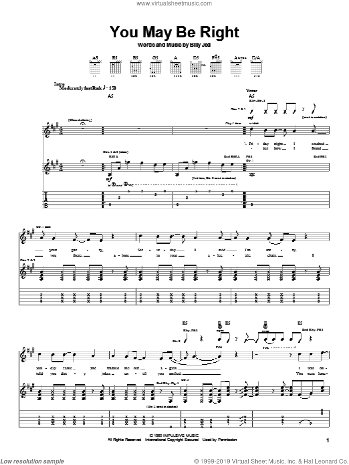 You May Be Right sheet music for guitar (tablature) by Billy Joel. Score Image Preview.