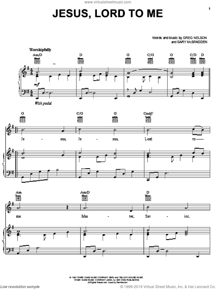 Jesus, Lord To Me sheet music for voice, piano or guitar by Greg Nelson and Gary McSpadden, intermediate. Score Image Preview.