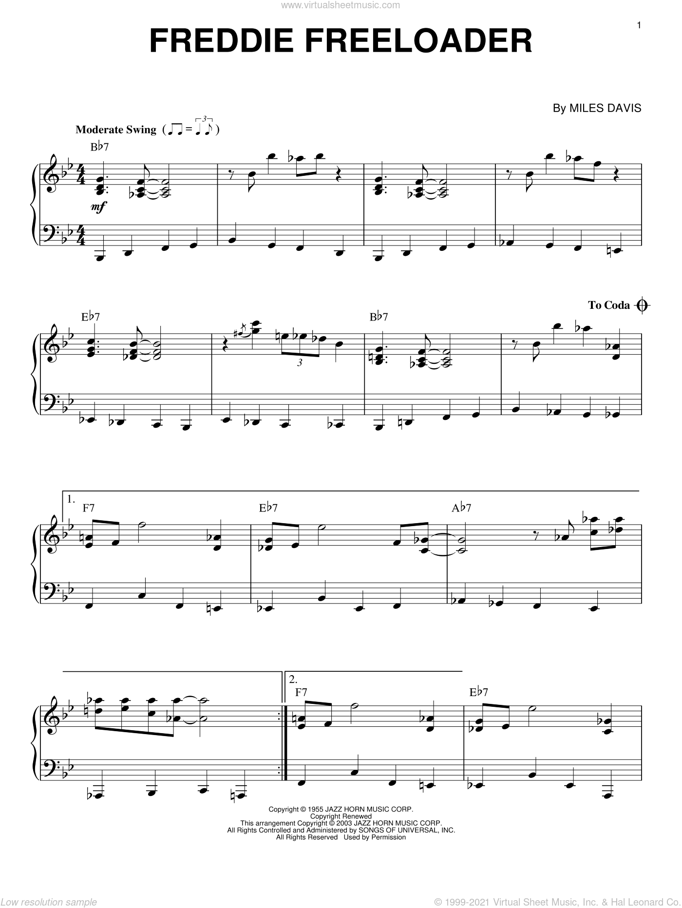 Freddie Freeloader sheet music for piano solo by Miles Davis, intermediate skill level