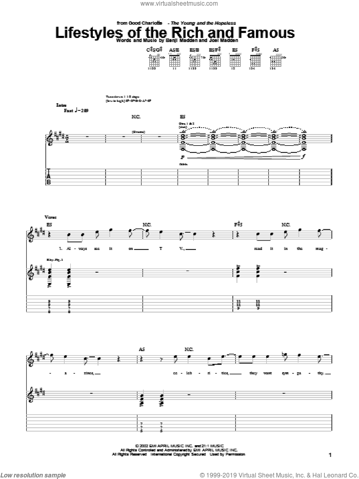 Lifestyles Of The Rich And Famous sheet music for guitar (tablature) by Joel Combs. Score Image Preview.
