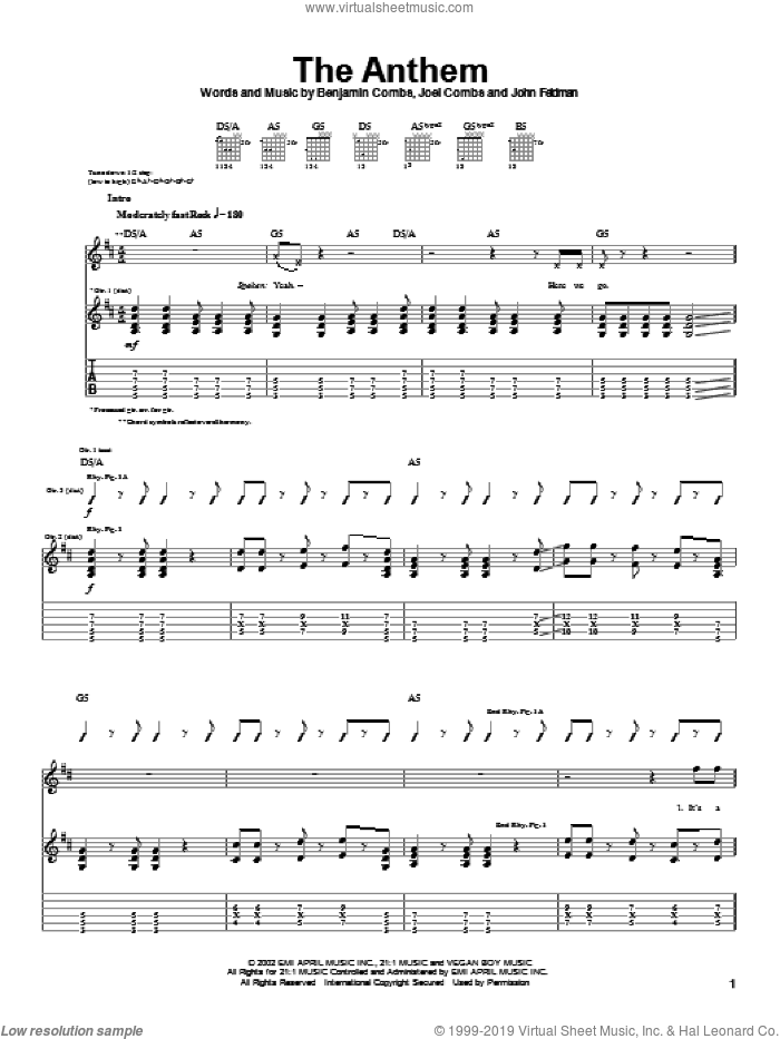 The Anthem sheet music for guitar (tablature) by John Feldmann and Joel Combs. Score Image Preview.