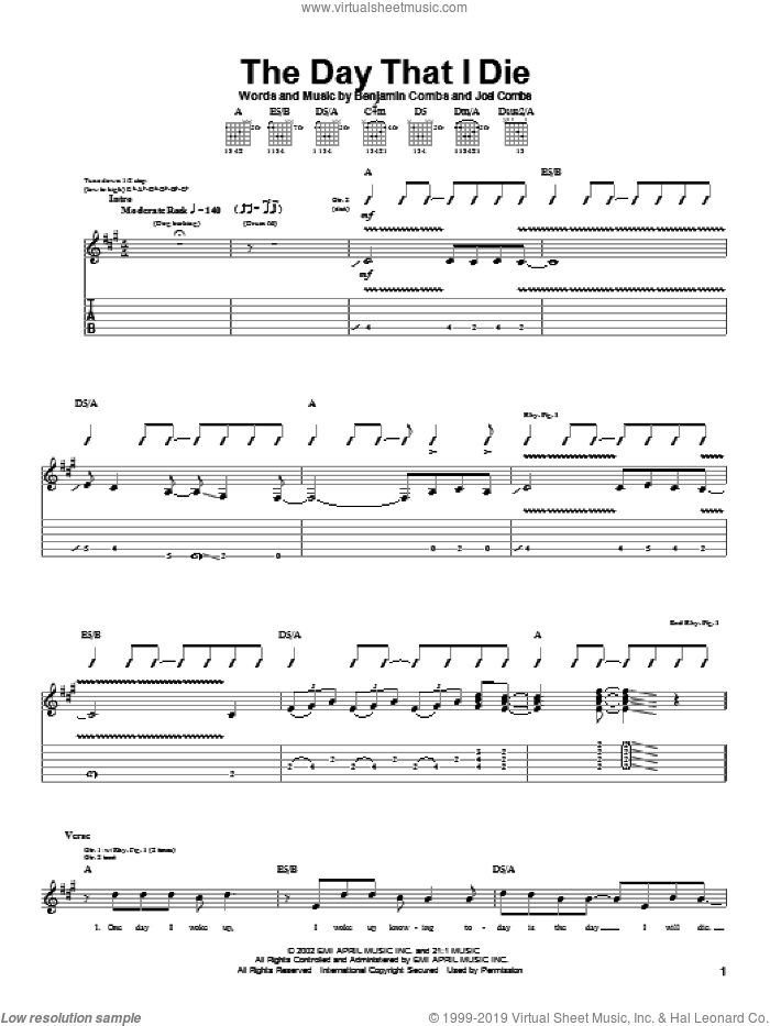The Day That I Die sheet music for guitar (tablature) by Good Charlotte, Benjamin Combs and Joel Combs, intermediate skill level