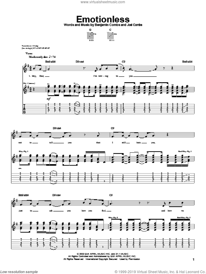 Emotionless sheet music for guitar (tablature) by Good Charlotte. Score Image Preview.