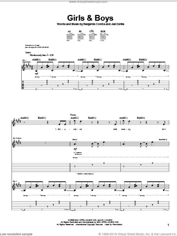 Girls and Boys sheet music for guitar (tablature) by Joel Combs. Score Image Preview.