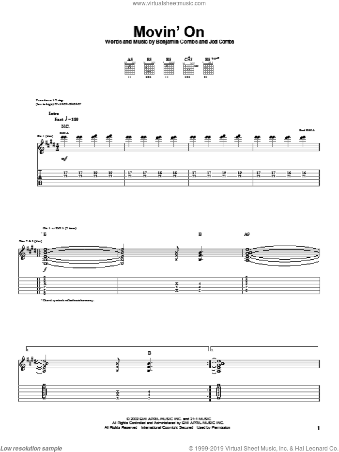 Movin' On sheet music for guitar (tablature) by Joel Combs. Score Image Preview.