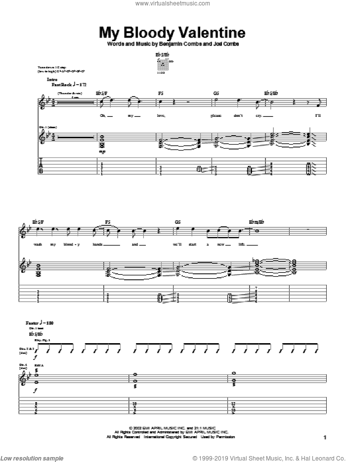 My Bloody Valentine sheet music for guitar (tablature) by Good Charlotte, Benjamin Combs and Joel Combs, intermediate skill level