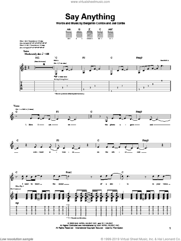 Say Anything sheet music for guitar (tablature) by Joel Combs. Score Image Preview.