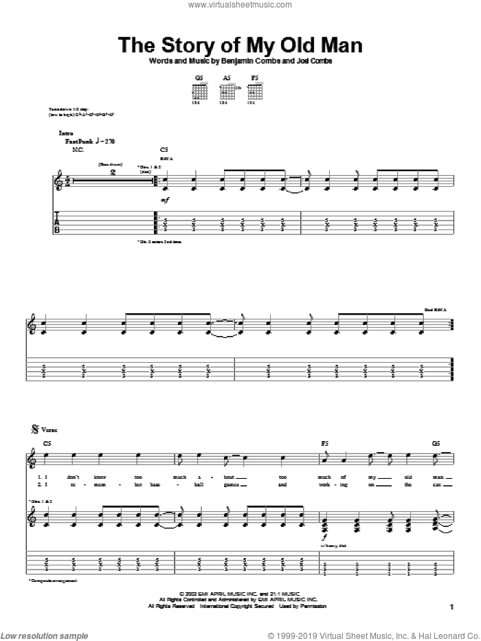 The Story Of My Old Man sheet music for guitar (tablature) by Joel Combs. Score Image Preview.