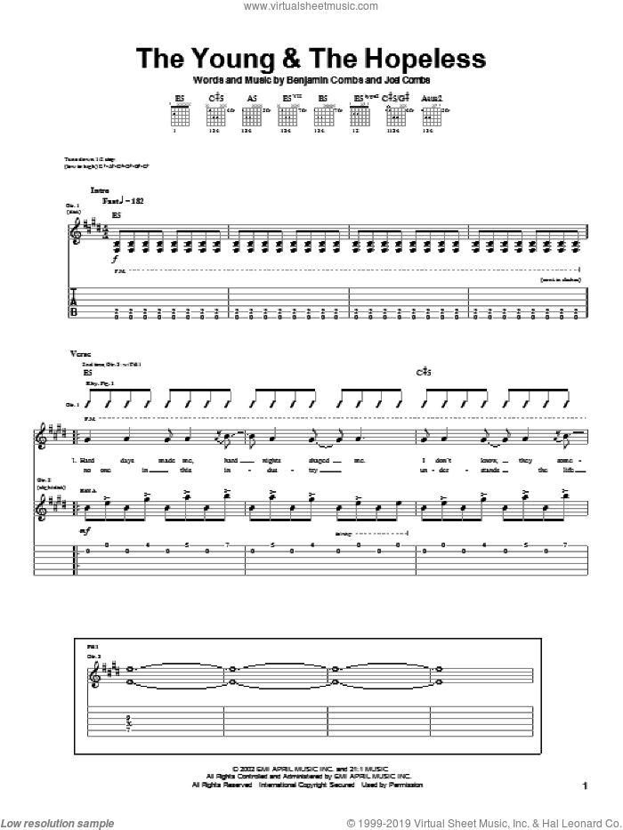The Young and The Hopeless sheet music for guitar (tablature) by Good Charlotte, Benjamin Combs and Joel Combs, intermediate skill level