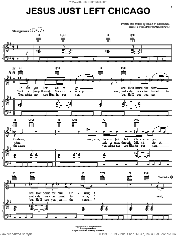 Jesus Just Left Chicago sheet music for voice, piano or guitar by Frank Beard, ZZ Top, Billy Gibbons and Dusty Hill. Score Image Preview.