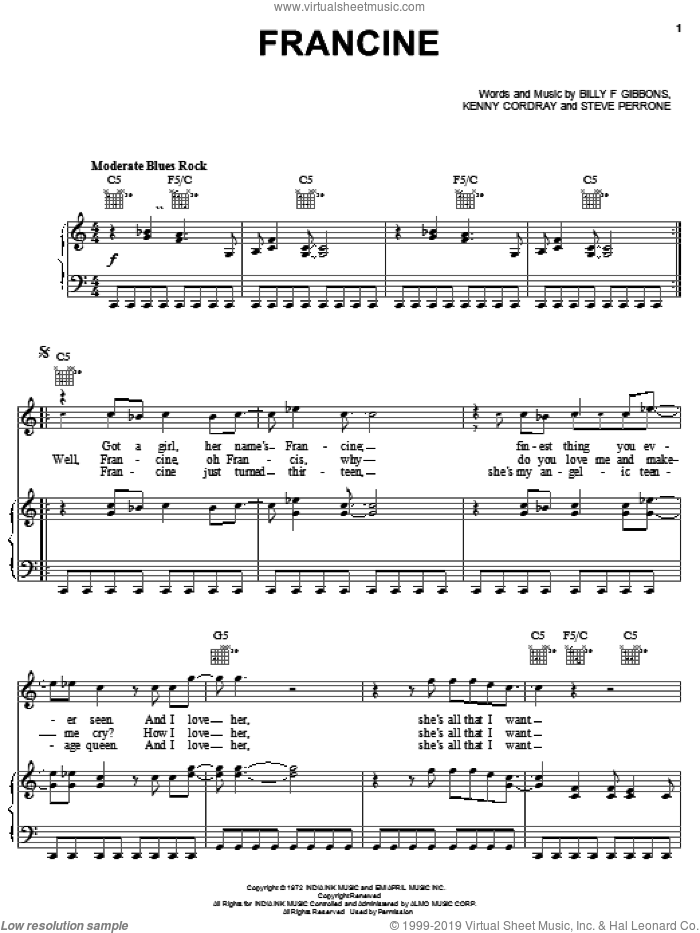 Francine sheet music for voice, piano or guitar by Steve Perrone, ZZ Top and Billy Gibbons. Score Image Preview.