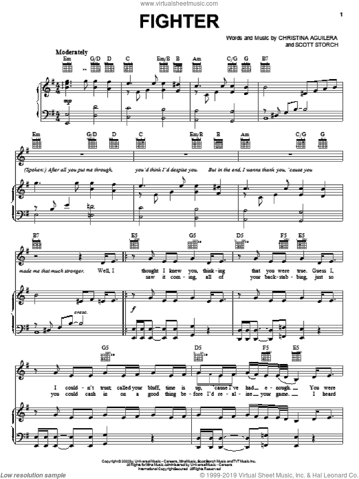 Fighter sheet music for voice, piano or guitar by Scott Storch and Christina Aguilera. Score Image Preview.