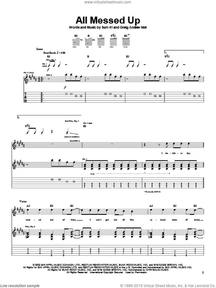 All Messed Up sheet music for guitar (tablature) by Sum 41 and Greig Nori, intermediate skill level