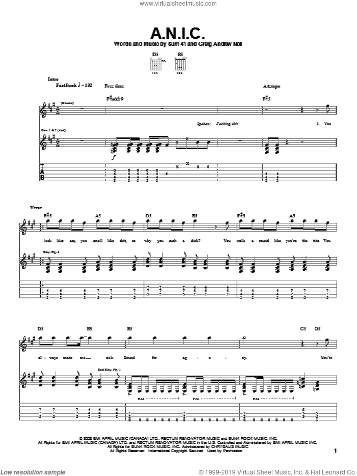 A.N.I.C. sheet music for guitar (tablature) by Sum 41, intermediate. Score Image Preview.