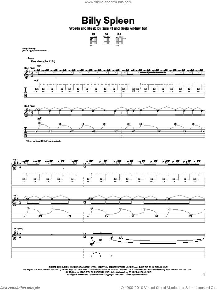 Billy Spleen sheet music for guitar (tablature) by Sum 41. Score Image Preview.