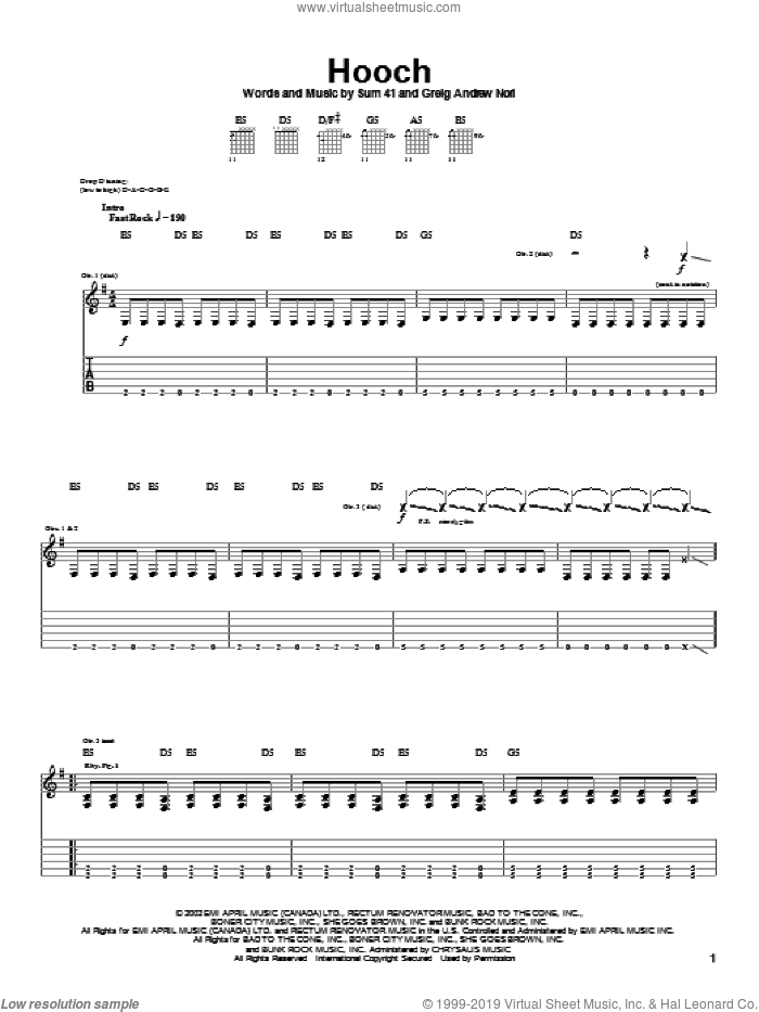 Hooch sheet music for guitar (tablature) by Greig Nori and Sum 41. Score Image Preview.