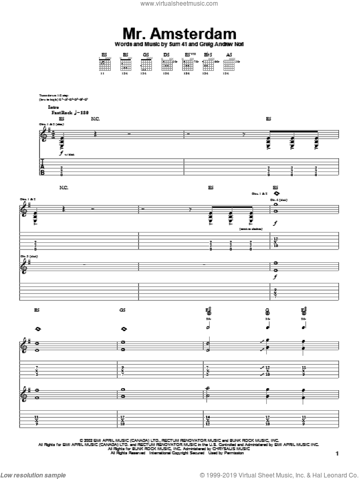 Mr. Amsterdam sheet music for guitar (tablature) by Sum 41 and Greig Nori, intermediate