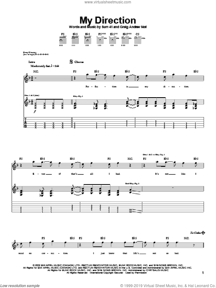 My Direction sheet music for guitar (tablature) by Greig Nori