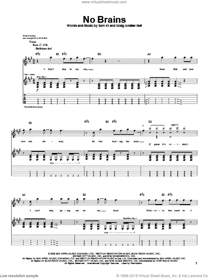 No Brains sheet music for guitar (tablature) by Sum 41 and Greig Nori, intermediate. Score Image Preview.