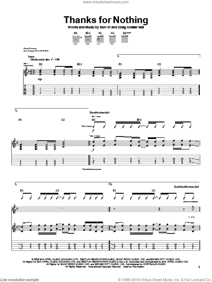 Thanks For Nothing sheet music for guitar (tablature) by Sum 41, intermediate. Score Image Preview.