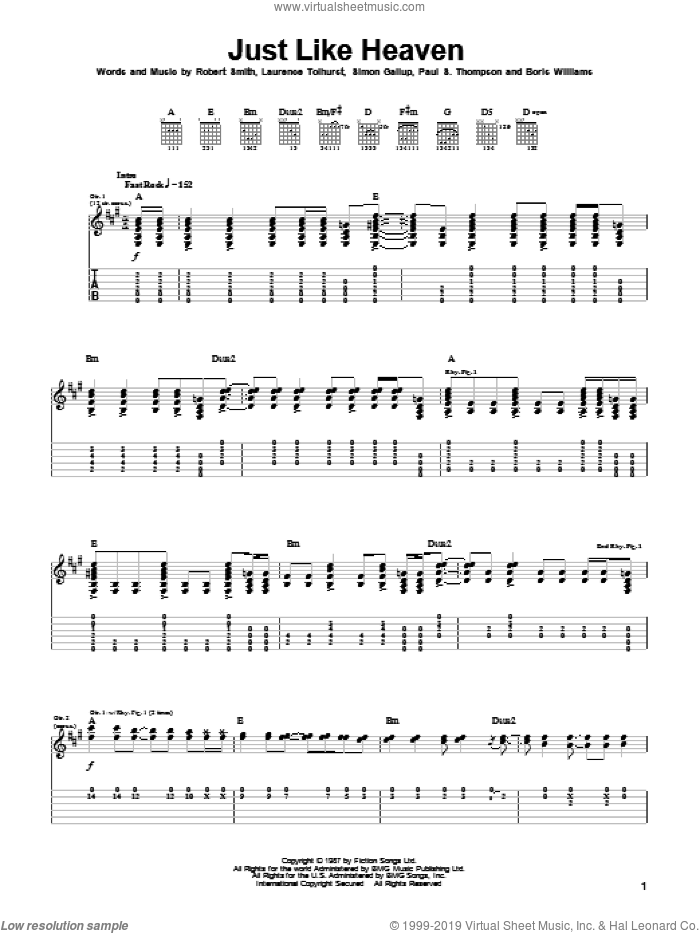 Just Like Heaven sheet music for guitar (tablature) by The Cure, Laurence Tolhurst, Robert Smith and Simon Gallup, intermediate skill level