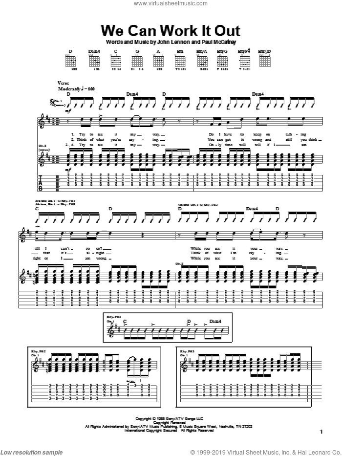 We Can Work It Out sheet music for guitar (tablature) by Paul McCartney, The Beatles and John Lennon, intermediate
