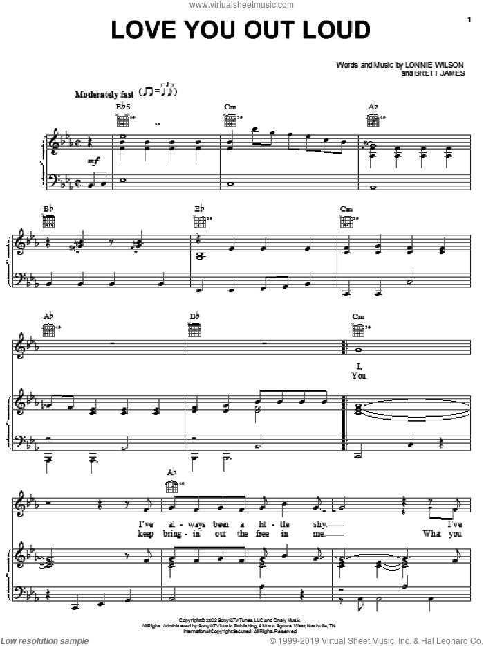 Love You Out Loud sheet music for voice, piano or guitar by Rascal Flatts, Brett James and Lonnie Wilson, intermediate skill level