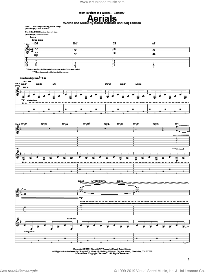 Aerials sheet music for guitar (tablature) by Serj Tankian and System Of A Down. Score Image Preview.