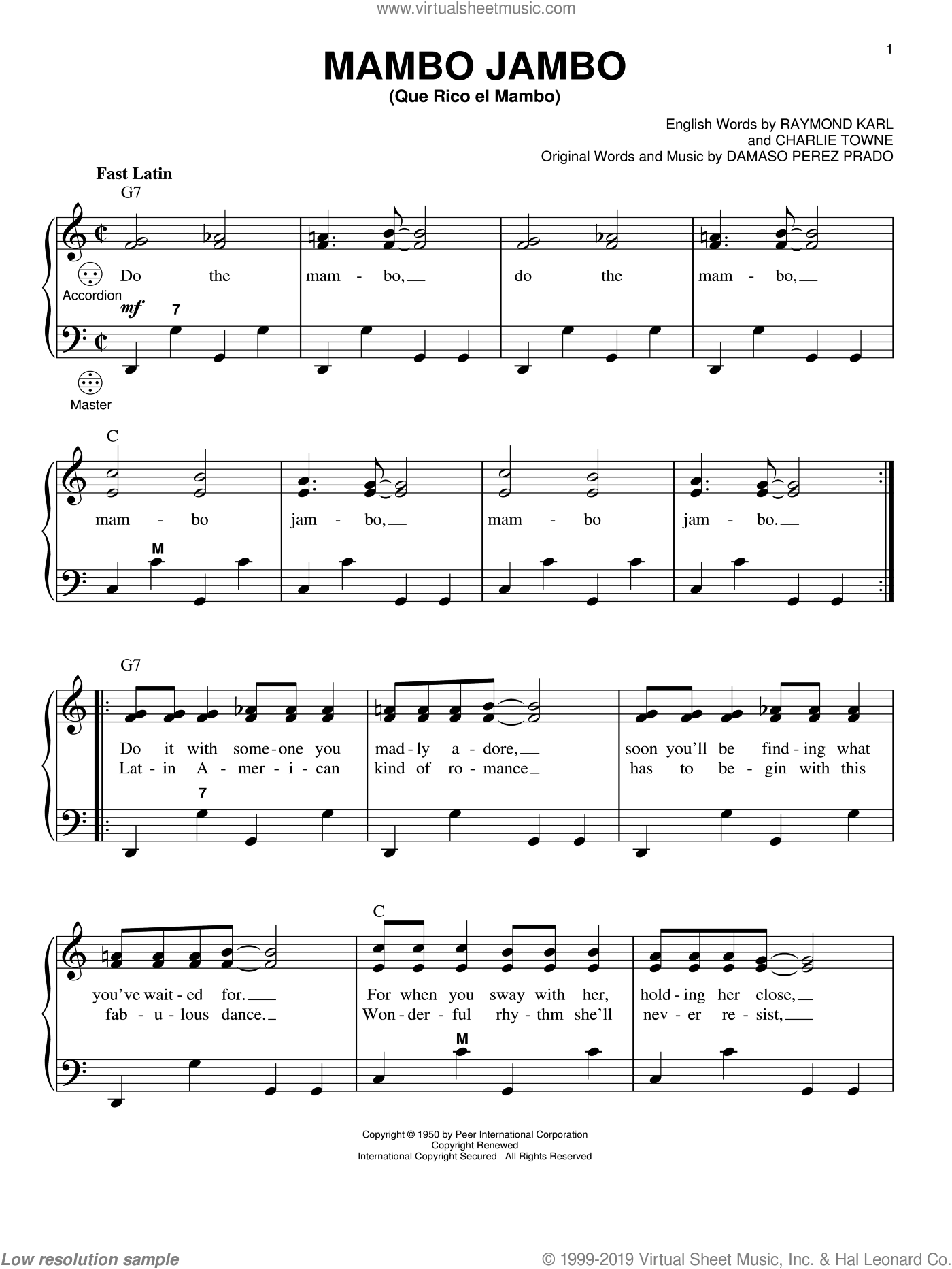 Mambo Jambo (Que Rico El Mambo) sheet music for accordion by Raymond Karl, Gary Meisner, Perez Prado and Damaso Perez Prado. Score Image Preview.