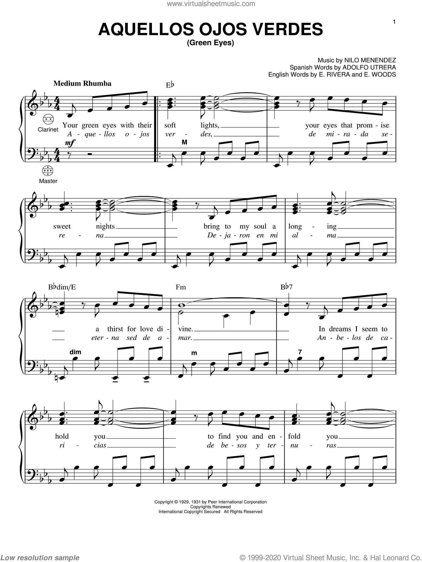 Aquellos Ojos Verdes (Green Eyes) sheet music for accordion by Nilo Menendez, Gary Meisner, Adolfo Utrera, E. Rivera and E. Woods, intermediate skill level