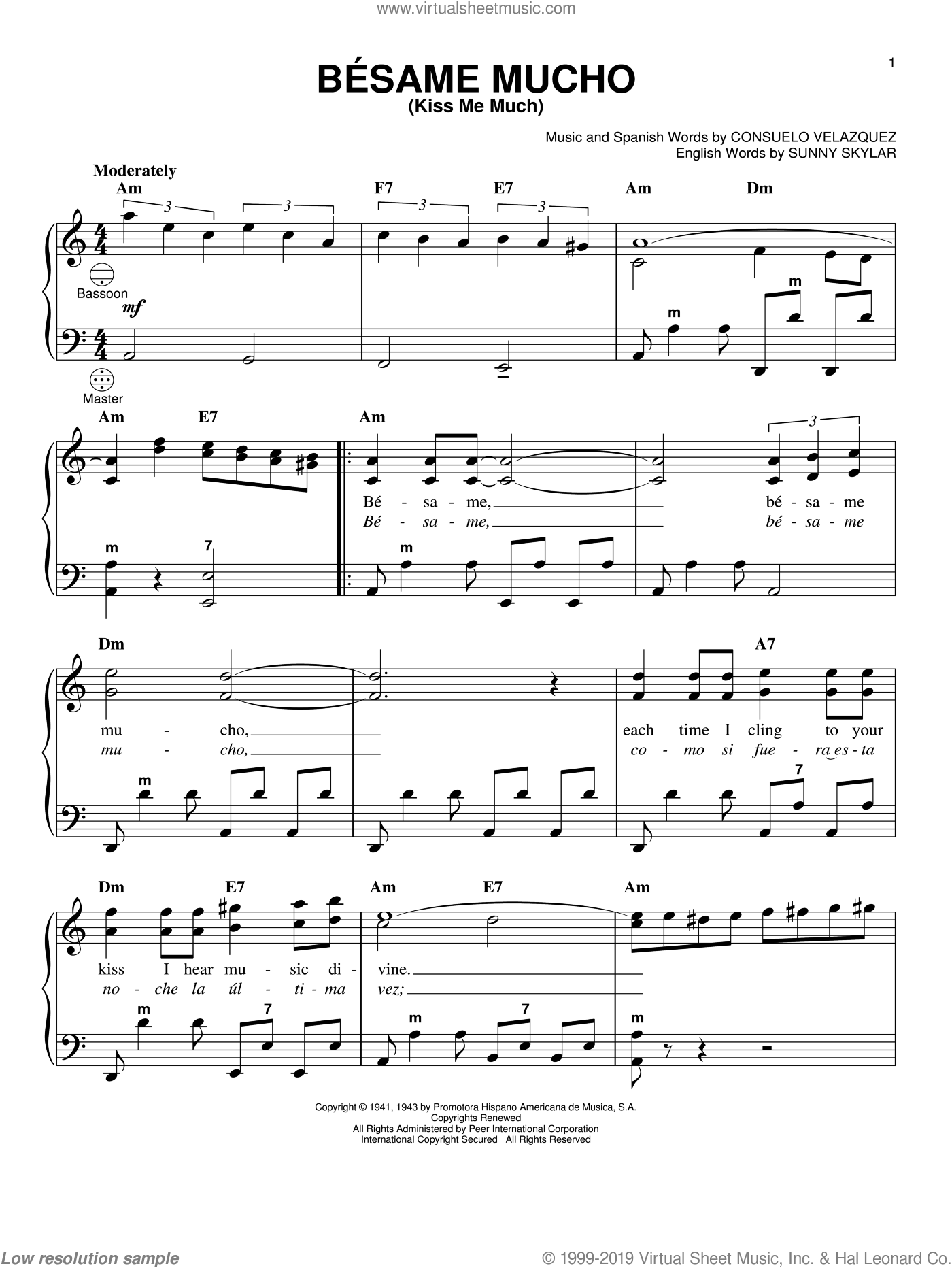 Besame Mucho (Kiss Me Much) sheet music for accordion by Sunny Skylar, Gary Meisner and Consuelo Velazquez. Score Image Preview.