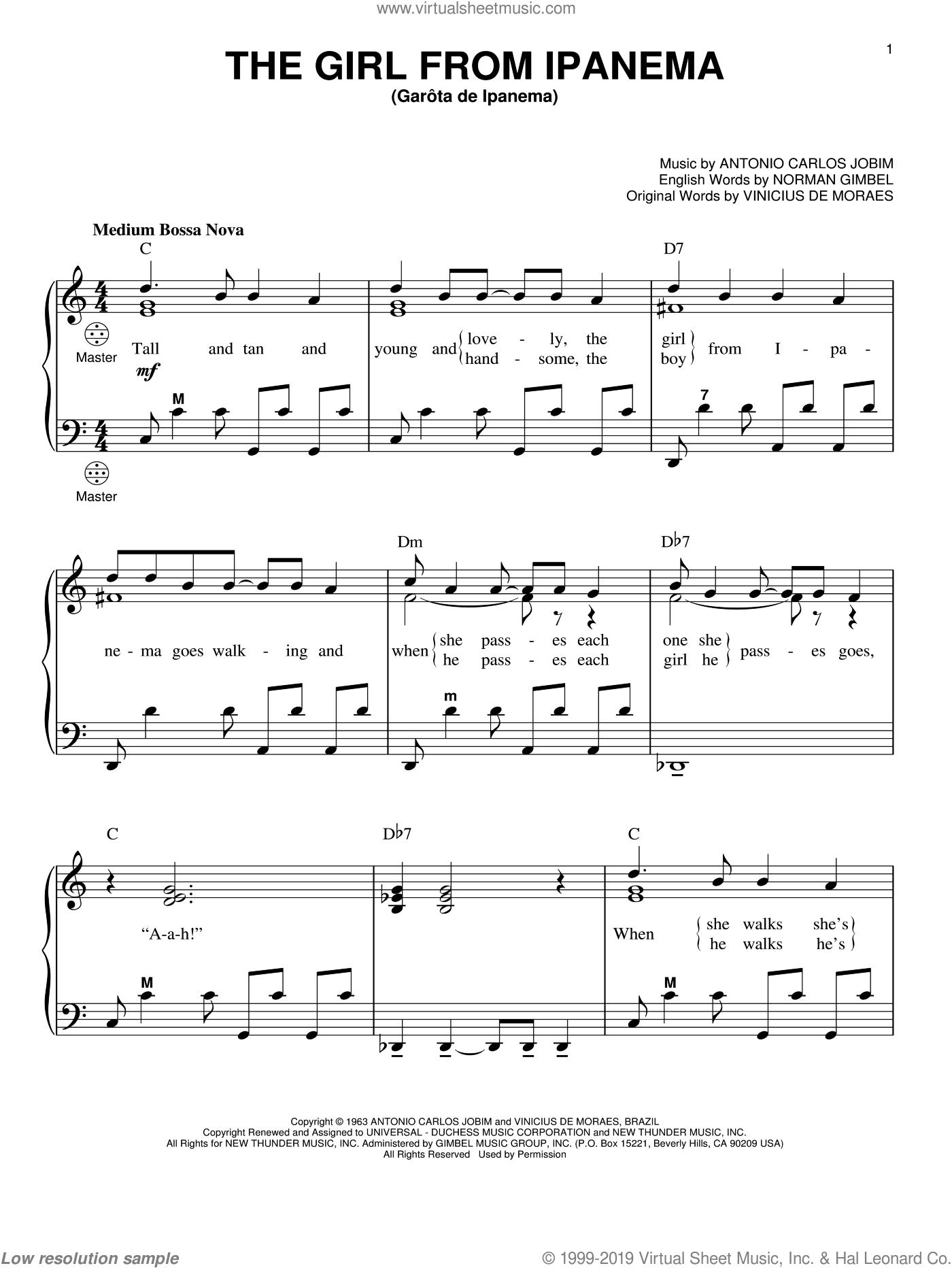 The Girl From Ipanema (Garota De Ipanema) sheet music for accordion by Antonio Carlos Jobim, Gary Meisner, Astrud Gilberto, Norman Gimbel and Vinicius de Moraes, intermediate skill level