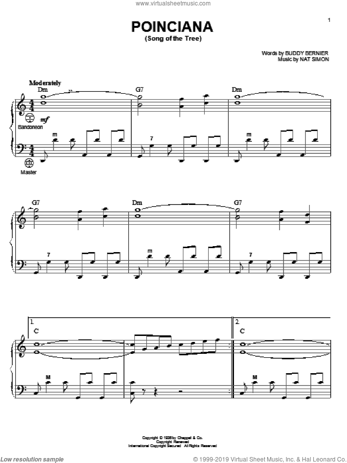 Poinciana (Song Of The Tree) sheet music for accordion by Buddy Bernier, Gary Meisner and Nat Simon, intermediate skill level