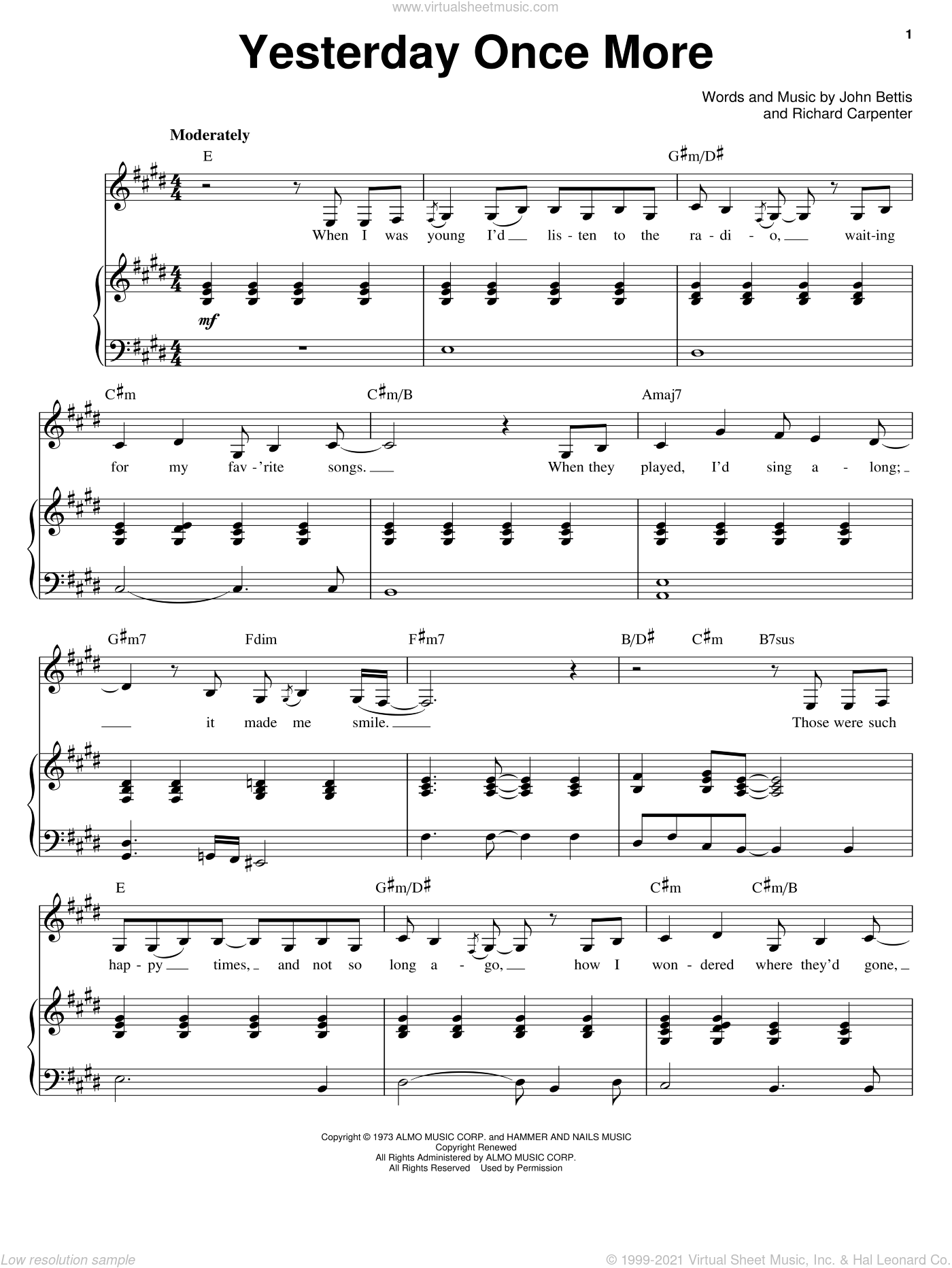 Yesterday Once More sheet music for voice and piano by Carpenters, John Bettis and Richard Carpenter, intermediate skill level