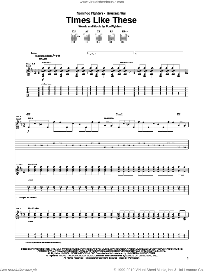 Times Like These sheet music for guitar (tablature) by Foo Fighters