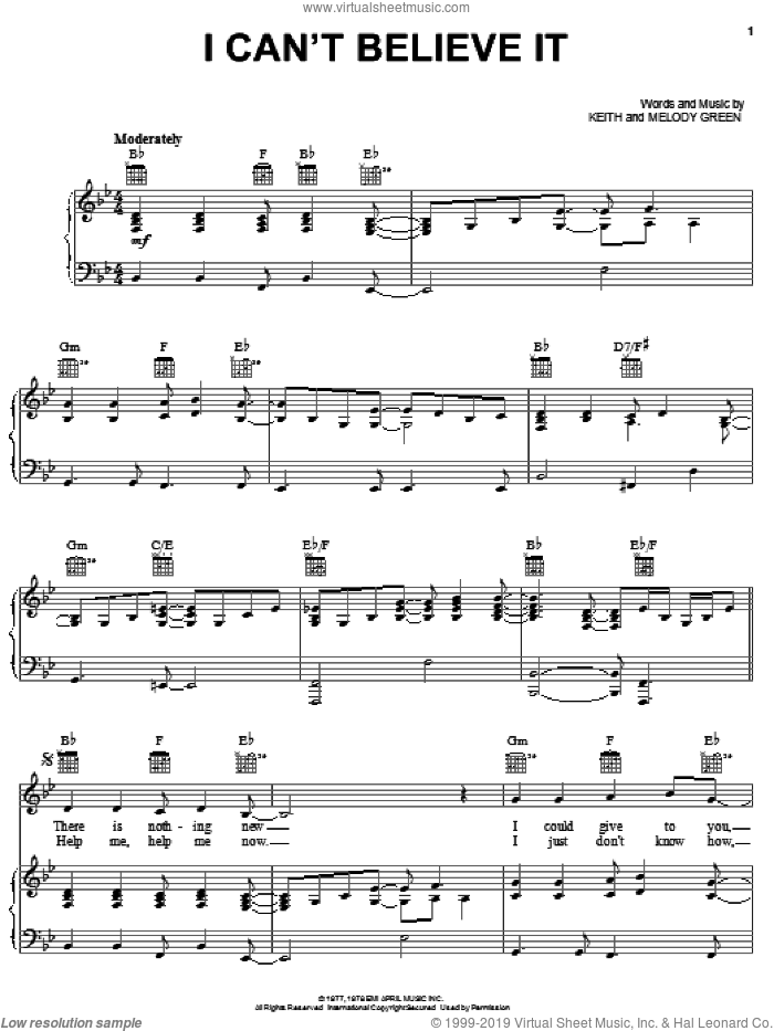 I Can't Believe It sheet music for voice, piano or guitar by Keith Green and Melody Green, intermediate skill level