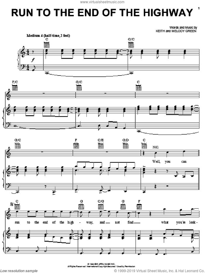 Run To The End Of The Highway sheet music for voice, piano or guitar by Keith Green and Melody Green, intermediate. Score Image Preview.