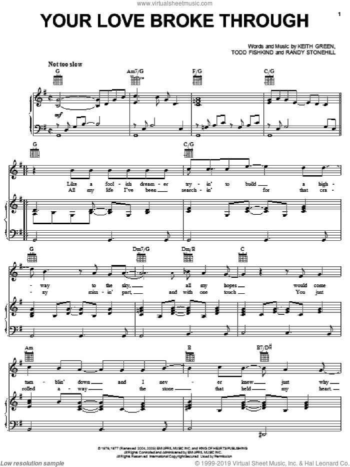 Your Love Broke Through sheet music for voice, piano or guitar by Keith Green, Randy Stonehill and Todd Fishkind, wedding score, intermediate skill level