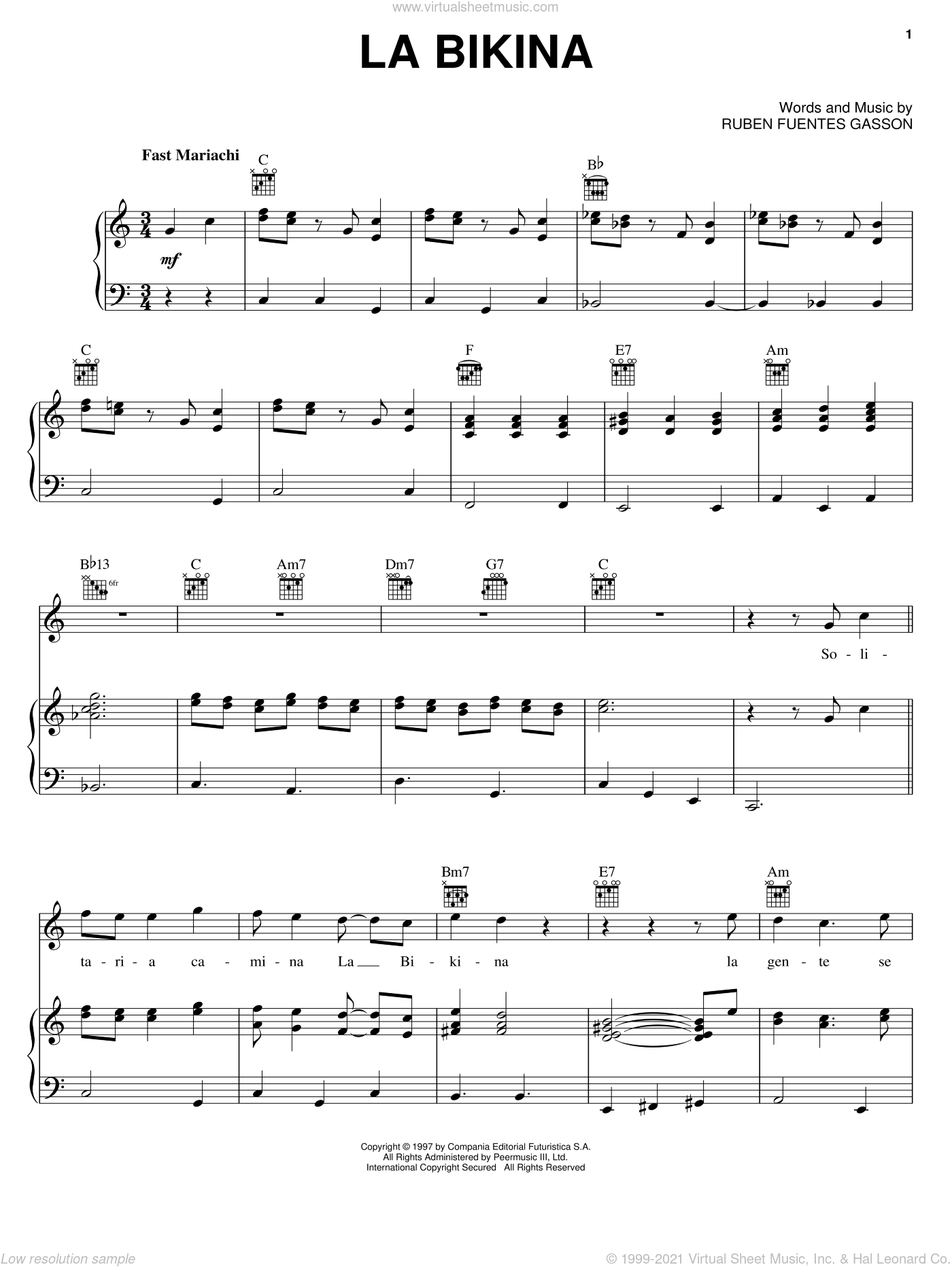 La Bikina sheet music for voice, piano or guitar by Ruben Fuentes Gasson