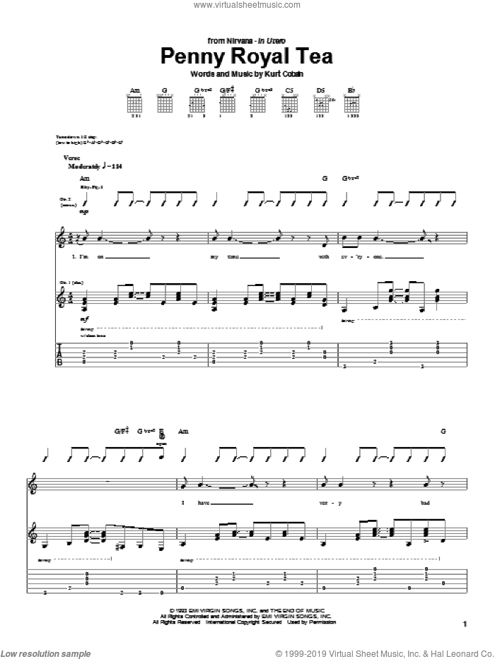 Penny Royal Tea sheet music for guitar (tablature) by Nirvana. Score Image Preview.