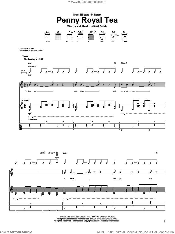 Penny Royal Tea sheet music for guitar (tablature) by Nirvana and Kurt Cobain, intermediate skill level