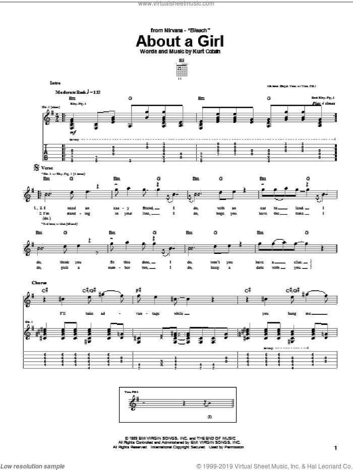 About A Girl sheet music for guitar (tablature) by Nirvana and Kurt Cobain, intermediate skill level