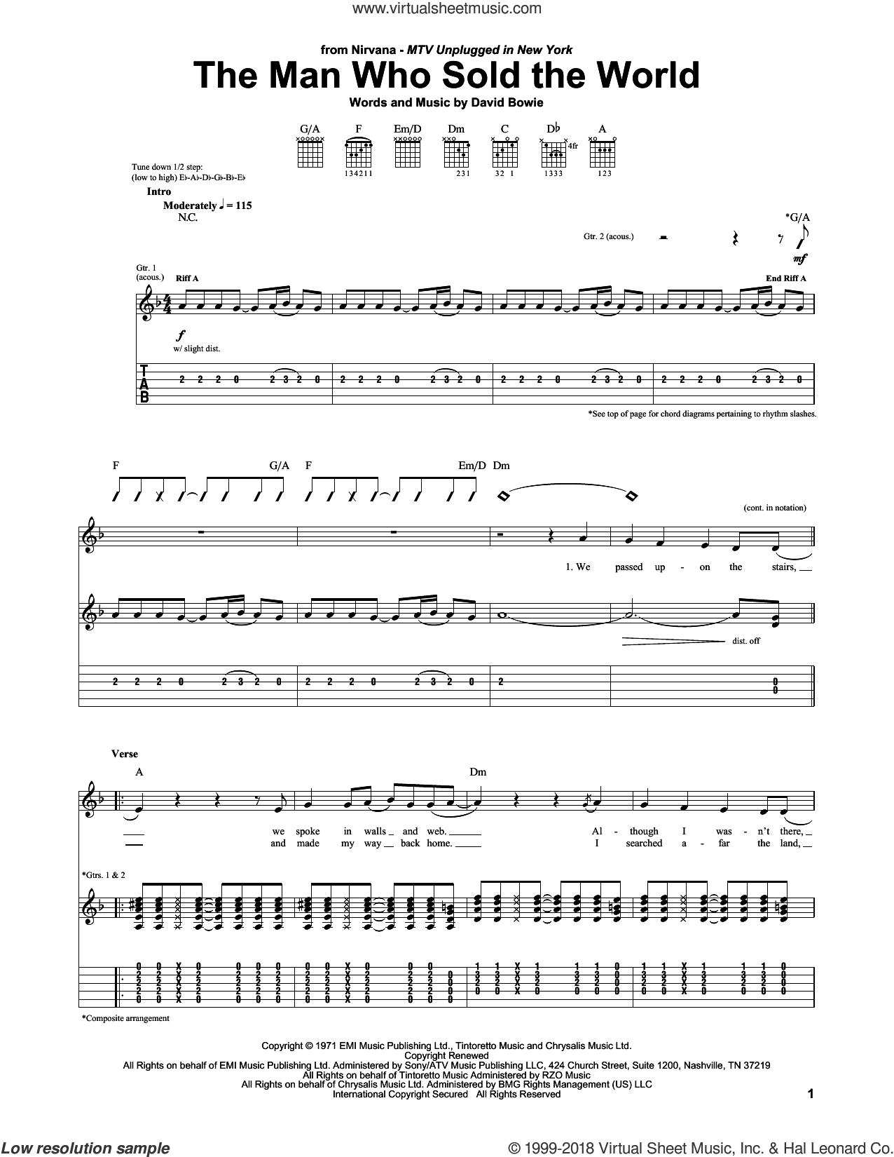 The Man Who Sold The World sheet music for guitar (tablature) by Nirvana and David Bowie. Score Image Preview.
